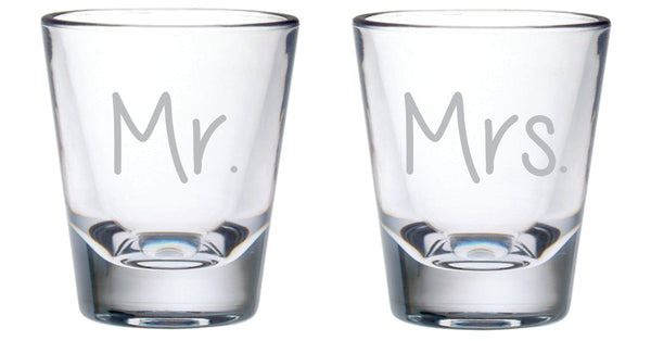 Mr. and Mrs. 2oz. Shot Glass Set of , pick your font