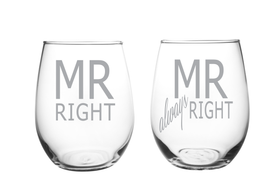 Mr Right and Mr always Right 17oz. Lead Free Crystal Laser Etched Stemless Wine Glass Set