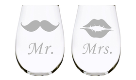 Mr. Mustache and Mrs. Lips 17 oz. Lead Free Crystal