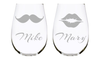 Personalized Stemless Wine Glass Set with Names with Mustache and Lips(set of two), 17 oz. Lead Free Crystal