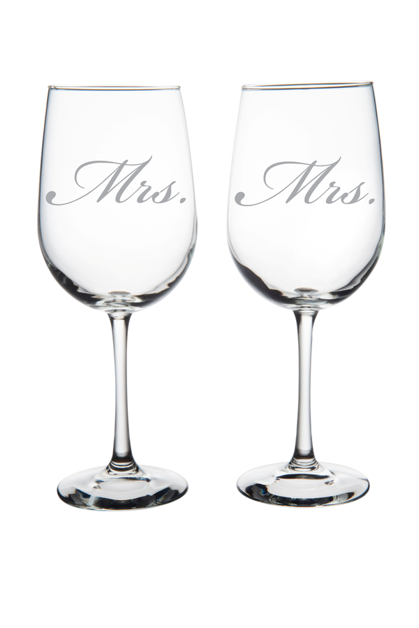 Mrs. and Mrs. Wine Glass Set (of two), 19 oz.