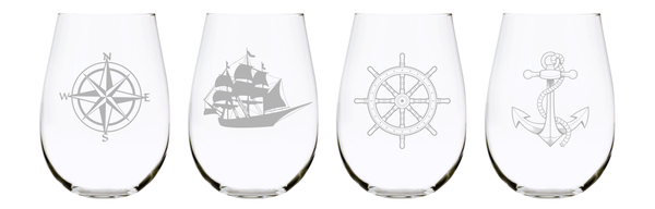 Nautical stemless wine glass (set of 4) 17oz. Lead Free Crystal