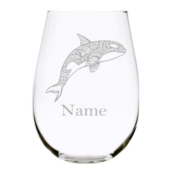 Orca with name 17oz. Lead Free Crystal stemless wine glass