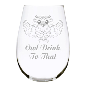 Owl Drink To That stemless wine glass 17 oz. …