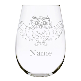 Owl with name 17oz. Lead Free Crystal stemless wine glass