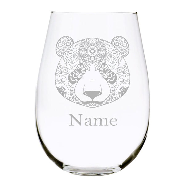 Panda 15 oz. stemless wine glass