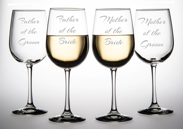 Father/Mother of the Bride and Father/Mother of the Groom Wine Glass Set