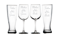 Father of Bride and Groom Pilsner Glasses and Mother of Bride and Groom Wine Glass set
