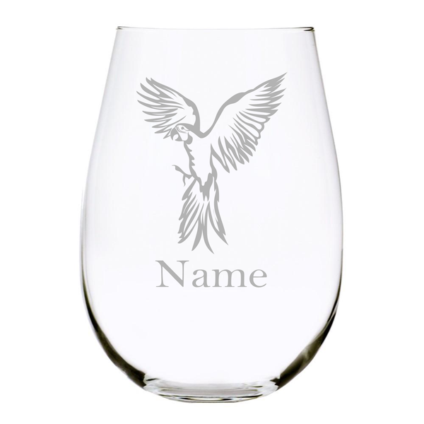 Parrot with name 17 oz. stemless wine glass