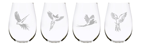 Parrot stemless wine glass (set of 4), 17 oz. Lead Free Crystal