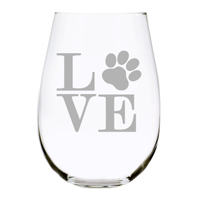 Paw print LOVE 17 oz. stemless wine glass, Lead Free Crystal