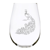 Peacock stemless wine glass, 17 oz. Lead Free Crystal