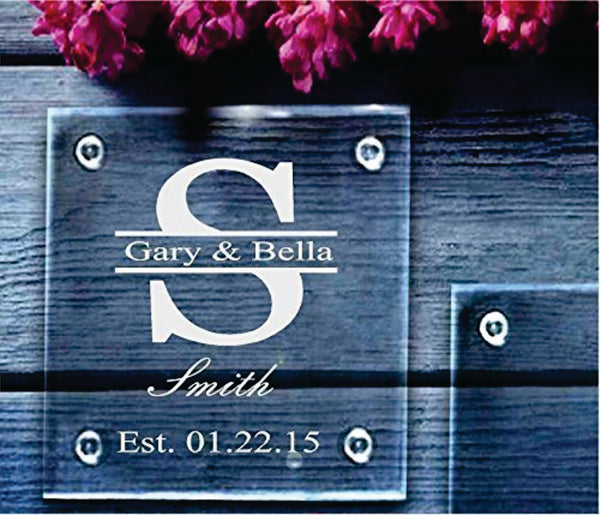Personalized Glass Coasters. Set of four. Perfect for Wedding Favors, Wedding/Anniversary Gift.Permanently etched.