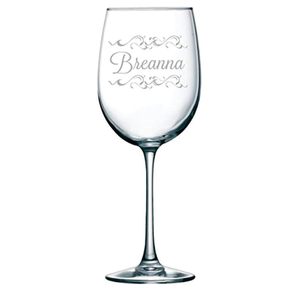 Personalized name wine glass with embellishment, 19oz.