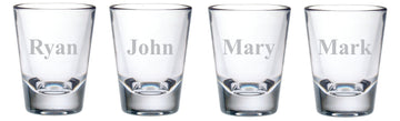 Personalized Shot Glass Set of Four with Names, 2oz.