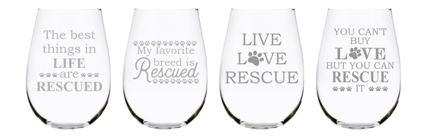 Pet Rescue stemless wine glass set (of 4), 17 oz.