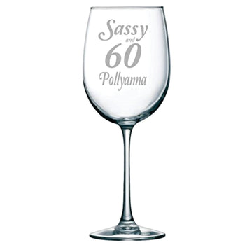 Sassy and 60 Etched Wine Glass with Name