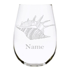 Sea shell with name 17oz. Lead Free Crystal stemless wine glass