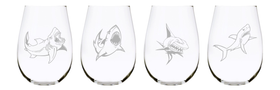 Shark stemless wine glass (set of 4), 17 oz. Lead Free Crystal