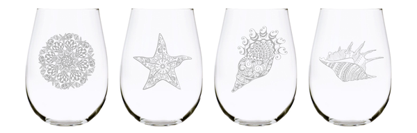 Sea shell stemless wine glass (set of 4) 17oz. Lead Free Crystal