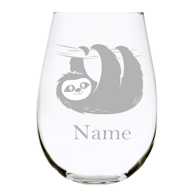 Sloth with name 17oz. Lead Free Crystal stemless wine glass
