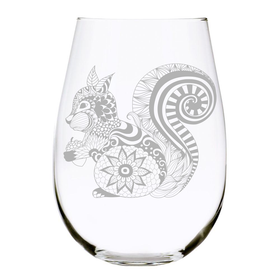Squirrel 17 oz. stemless wine glass, Lead Free Crystal