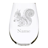 Squirrel with name 17oz. Lead Free Crystal stemless wine glass