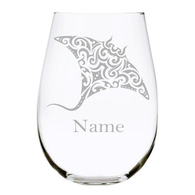Stingray with name 17oz. Lead Free Crystal stemless wine glass