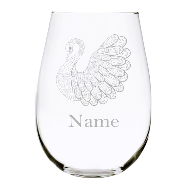 Swan with name 17 oz. stemless wine glass