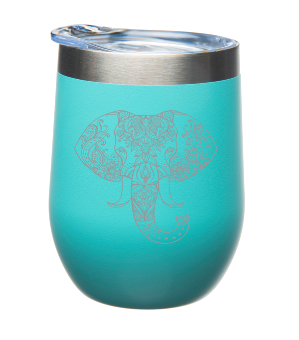 Elephant 12 oz. Double Insulated Stainless Steel Stemless Wine Glass with Lid-Laser Engraved- Powder Coated Tumbler ( Four Colors to Choose From )