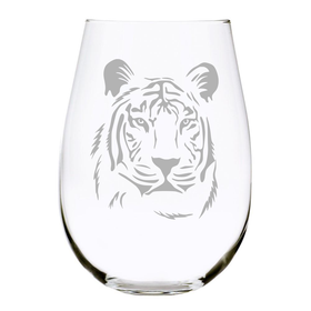 Tiger 17 oz. stemless wine glass, Lead Free Crystal