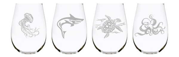 Under the sea animal stemless wine glass (set of 4), 17 oz. Lead Free Crystal