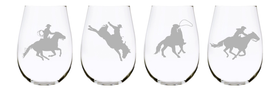 Western horse  stemless wine glass (set of 4), 17 oz. Lead Free Crystal