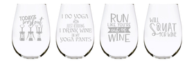 Wine exercise stemless wine glass (set of 4), 17 oz. Lead Free Crystal