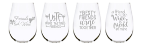Wine friends stemless wine glass (set of 4) …17oz. Lead Free Crystal