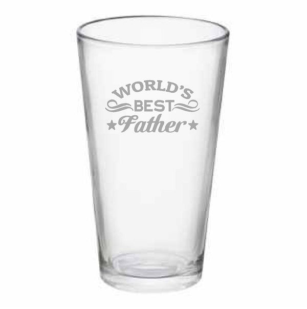World's Best Father Pub Glass, 16 oz. or Beer Mug, 25 oz.