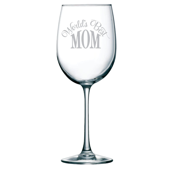 World's Best Mom 19 oz. etched wine glass