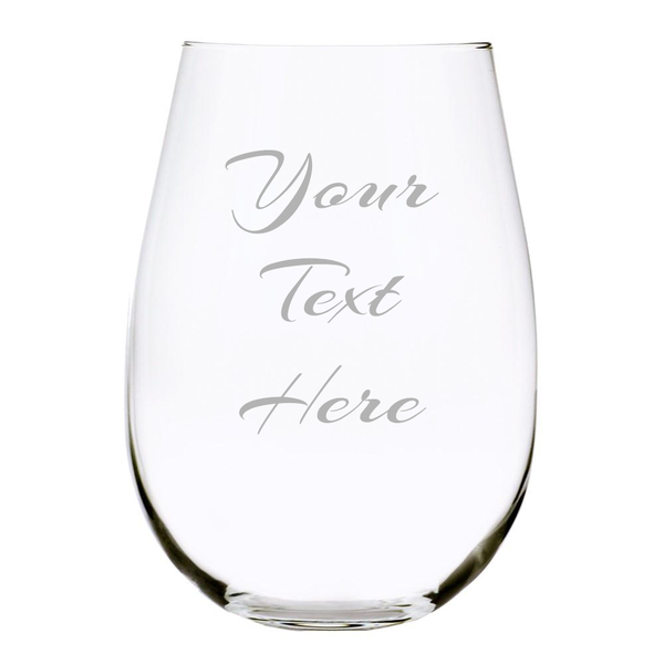 Custom Etched 17oz. Lead Free Crystal Stemless Wine Glass, you choose your text and font