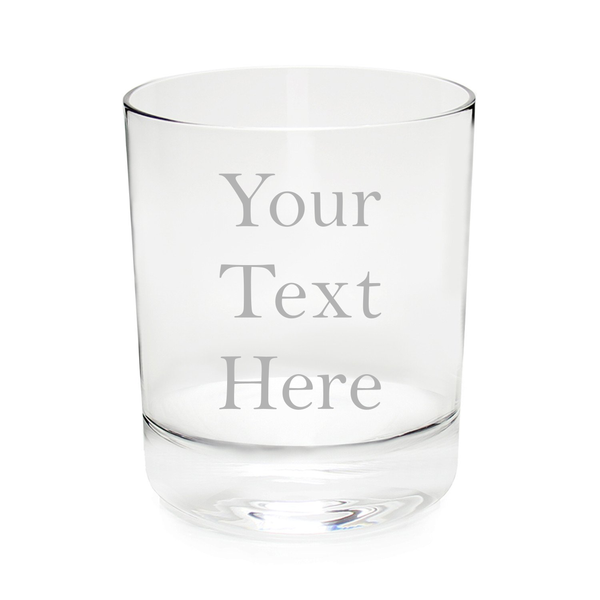 Custom Etched 11 oz Whiskey/Rocks Glass, you choose your text and font