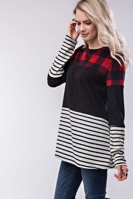 Checker Stripe Top