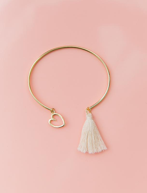Heart Tassel Bangle