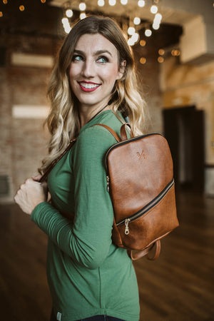 Panha Leather Backpack - Brown