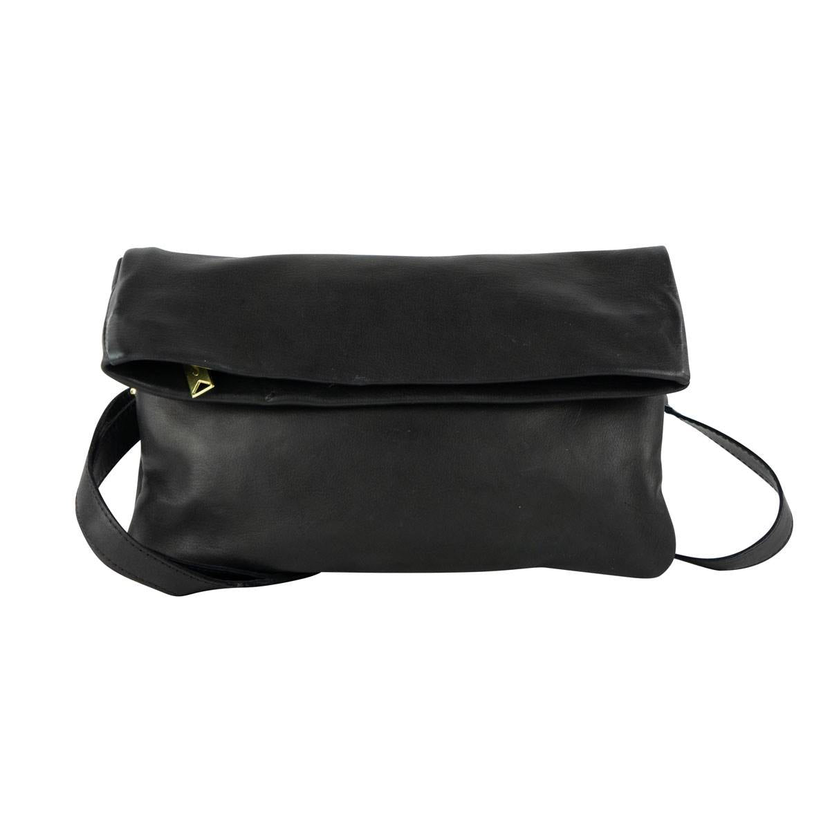Foldover Crossbody Clutch in Black