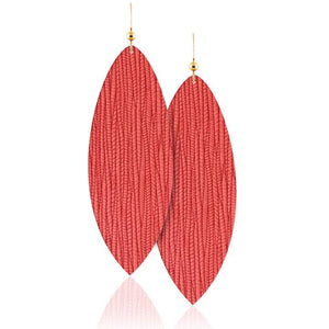 Coral Leather Earrings