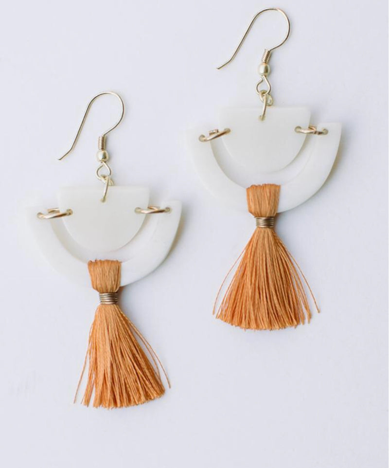 Doric Tassel Earrings - Orange