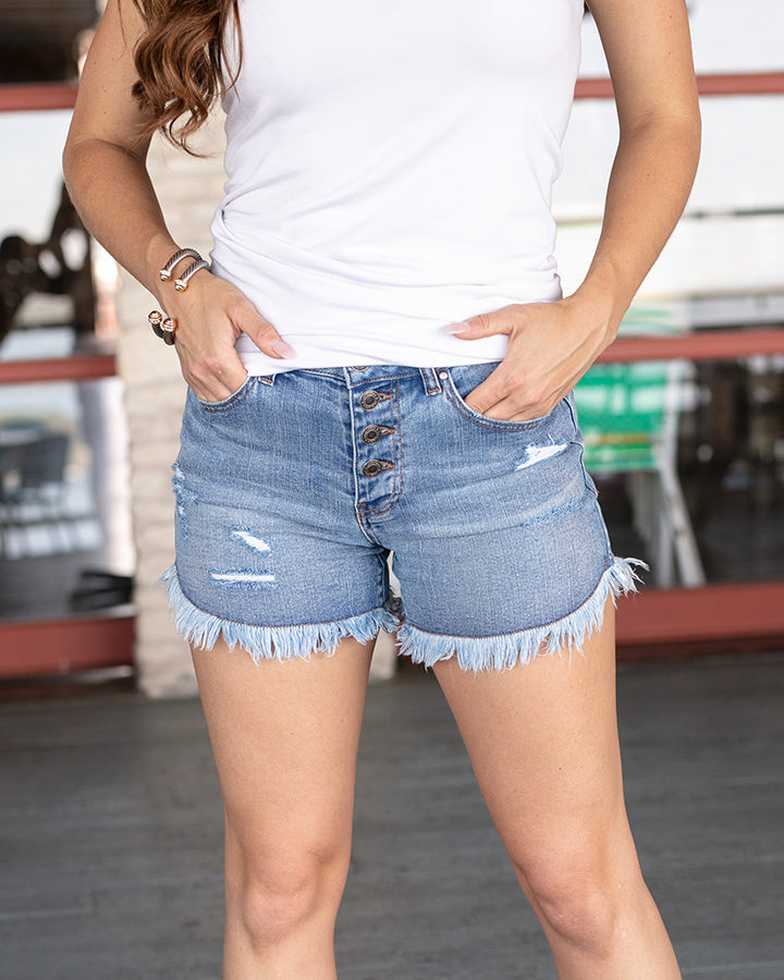Girlfriend Frayed Hem Shorts