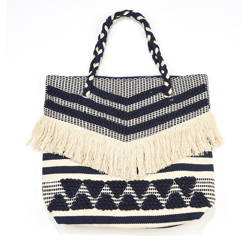 Hand Loom Tote Bag with Fringe