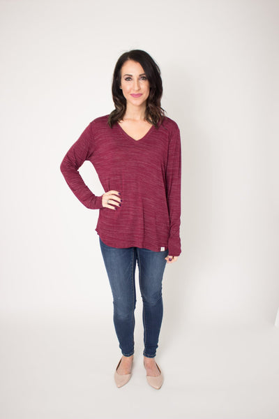 Long-sleeve V-Neck Tee - Black Cherry
