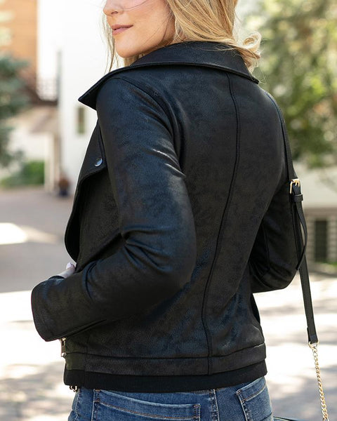 Move Free Leather Look Moto Jacket