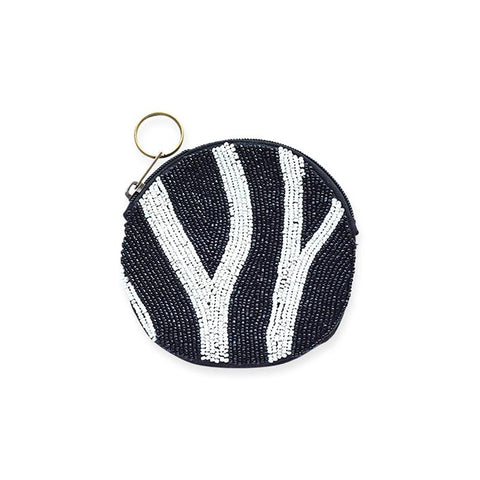 Zebra Beaded Round Zip